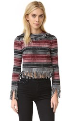 Nicholas Tweed Fringe Long Sleeve Top Multi