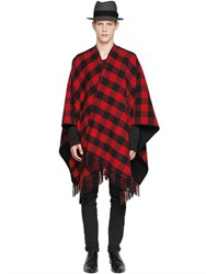 La Mericaine Checked Wool Blend Cape