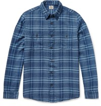 Faherty Belmar Plaid Cotton Flannel Shirt Blue