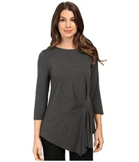 Vince Camuto 3 4 Sleeve Side Ruched Top Medium Heather Grey Women's Clothing Gray