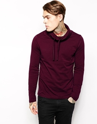 Asos Long Sleeve T Shirt With Cowl Neck Burgundy