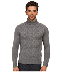 The Kooples Sport Cable Wool Turtleneck Sweater Grey