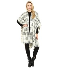 Echo Long Woven Check Ruana Black Women's Clothing