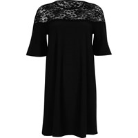 River Island Womens Black Lace Panel Flared Swing Dress