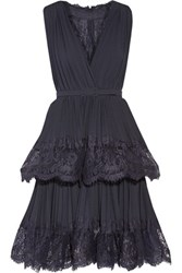 Mikael Aghal Lace Paneled Crepe Mini Dress Midnight Blue