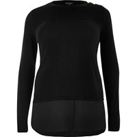 River Island Womens Ri Plus Black Double Layer Shirt Jumper