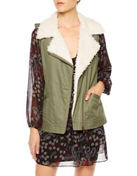 Sanctuary Alexis Faux Fur Trimmed Vest Military