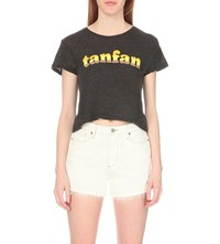 Wildfox Couture Tanfan Cropped T Shirt Clean Black