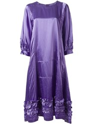 Comme Des Garcons Flared Ruffle Trim Dress Pink Purple