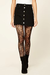 Forever 21 Semi Sheer Floral Tights Black