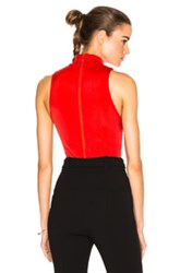 Galvan Sleeveless Swarovski Bodysuit In Red