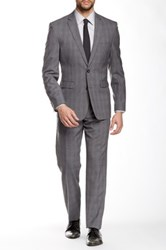 Vince Camuto Gray Plaid Two Button Notch Lapel Slim Fit Wool Suit