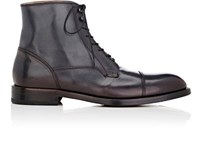 Barneys New York Men's Cap Toe Leather Boots Navy Blue Navy Blue