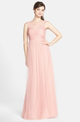 Jenny Yoo 'Aria' Illusion Yoke Pleated Tulle Gown Begonia Pink
