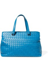 Bottega Veneta Medium Intrecciato Leather Tote Blue