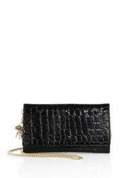 Alexander Mcqueen Croc Embossed Leather Chain Wallet Black