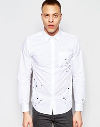 Izzue Shirt With Splatter Embroidery White