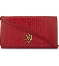 Alexander Mcqueen Amq Insignia Python Embossed Leather Wallet On A Chain Ruby