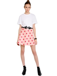 Red Valentino Cotton Jersey And Polka Dot Taffeta Dress White Pink