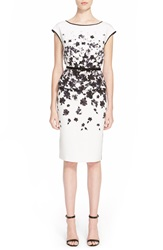 St. John Floral Print Crepe De Chine Peplum Dress Bianco Multi