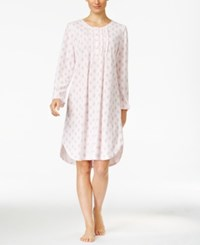 Miss Elaine Printed Honeycomb Knit Nightgown Pink Paisley