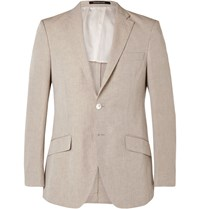 Richard James Stone Slim Fit Linen And Cotton Blend Blazer Brown