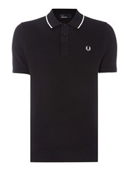 Fred Perry Men's Checkerboard Short Sleeve Polo Black