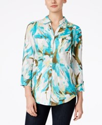 Jm Collection Linen Printed Shirt Only At Macy's Urban Aqua