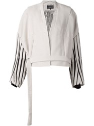 Ann Demeulemeester Striped Sleeves Oversized Jacket Nude And Neutrals