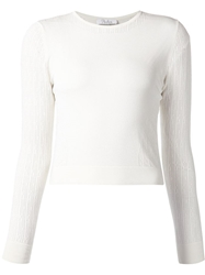 Parker Perforated Detail Sweater White