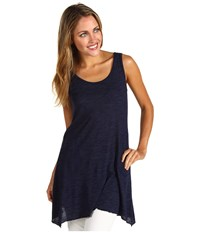 Allen Allen Scoop Neck Angled Tunic Lapis Women's Sleeveless Navy
