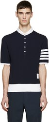 Thom Browne Navy Cotton Piqua Armband Polo