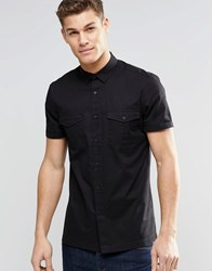 Asos Military Shirt In Black With Short Sleeves Black