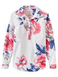 Joules Clovelly Floral Pop Over Shirt Bright White Rose