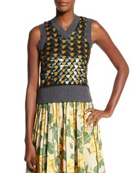 Marc Jacobs Sleeveless V Neck Embellished Sweater Gold Green