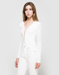 Alexander Wang Lace Up Long Sleeve Bodysuit White