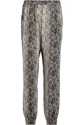Lanvin Snake Print Silk Crepe De Chine Tapered Pants Black