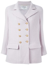Chanel Vintage Buttoned Short Coat Pink And Purple