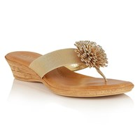 Lotus Monaco Toe Post Sandals Gold