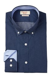 Original Penguin Flower Print Long Sleeve Slim Fit Dress Shirt Blue