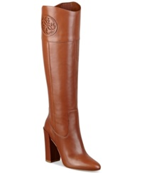 Guess Women's Dalen Tall High Heel Boots Women's Shoes Brown Leather