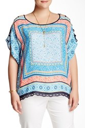 Halo Open Sleeve Printed Woven Blouse Plus Size Blue