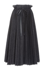 Dice Kayek Pleated Tea Length Denim Skirt Navy