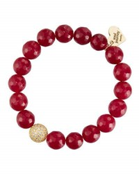 Soul Journey Ruby Red Jade Beaded Stretch Bracelet