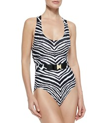 Michael Michael Kors Belted Zebra Print One Piece Swimsuit White