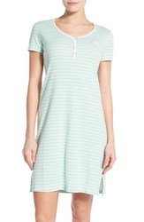 Women's Lauren Ralph Lauren 'Chateau Knits' Cotton Nightgown Juliet Stripe White Bamboo