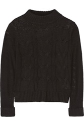 Enza Costa Cable Knit Wool And Cashmere Blend Sweater Black