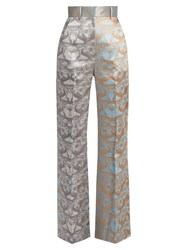 Sophie Theallet Waleska High Rise Silk Mikado Trousers Blue Multi