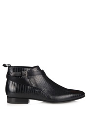 Saint Laurent Lizard Effect Leather Ankle Boots