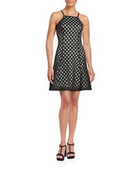 Guess Fit And Flare Diamond Cutout Dress Black White